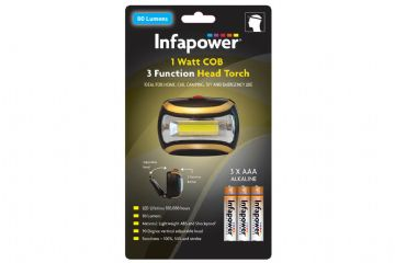 Infapower Head Torch COB LED 1 Watt 80 Lumens 3 function  inc 3x AAA Batteries